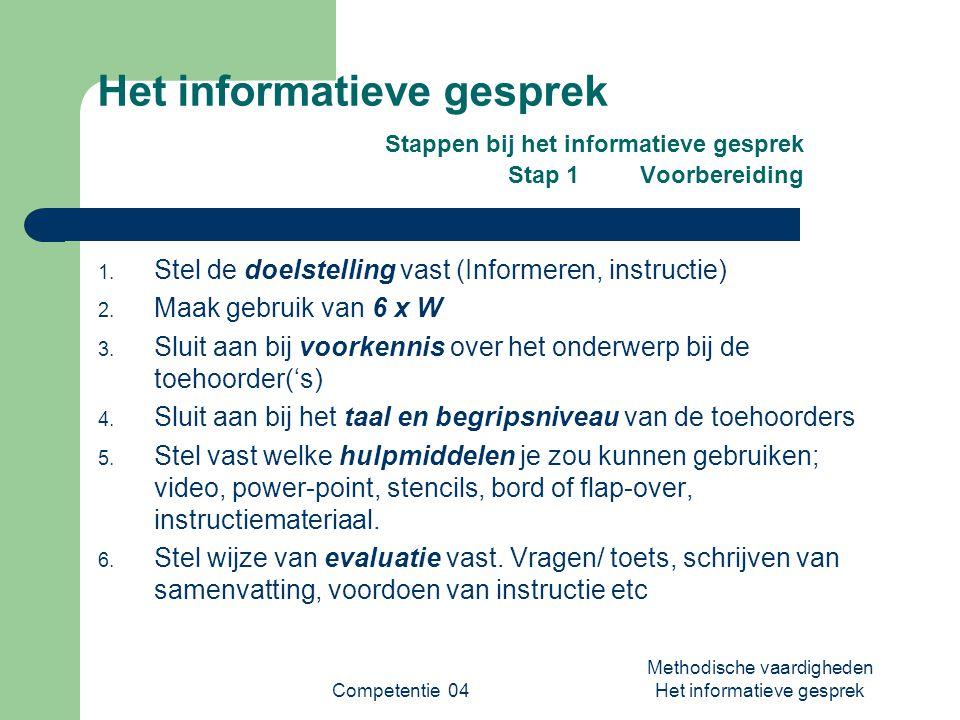 Competentie 04 Methodische vaardigheden Het informatieve gesprek Het informatieve gesprek Stappen bij het informatieve gesprek Stap 1 Voorbereiding 1.
