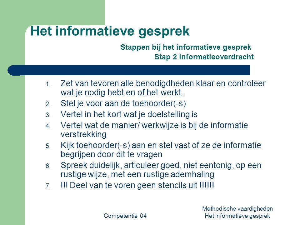 Competentie 04 Methodische vaardigheden Het informatieve gesprek Het informatieve gesprek Stappen bij het informatieve gesprek Stap 2 Informatieoverdracht 1.