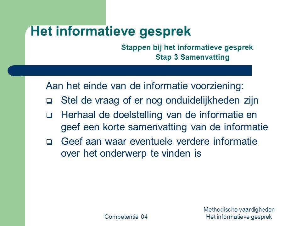Competentie 04 Methodische vaardigheden Het informatieve gesprek Het informatieve gesprek Stappen bij het informatieve gesprek Stap 3 Samenvatting Aan