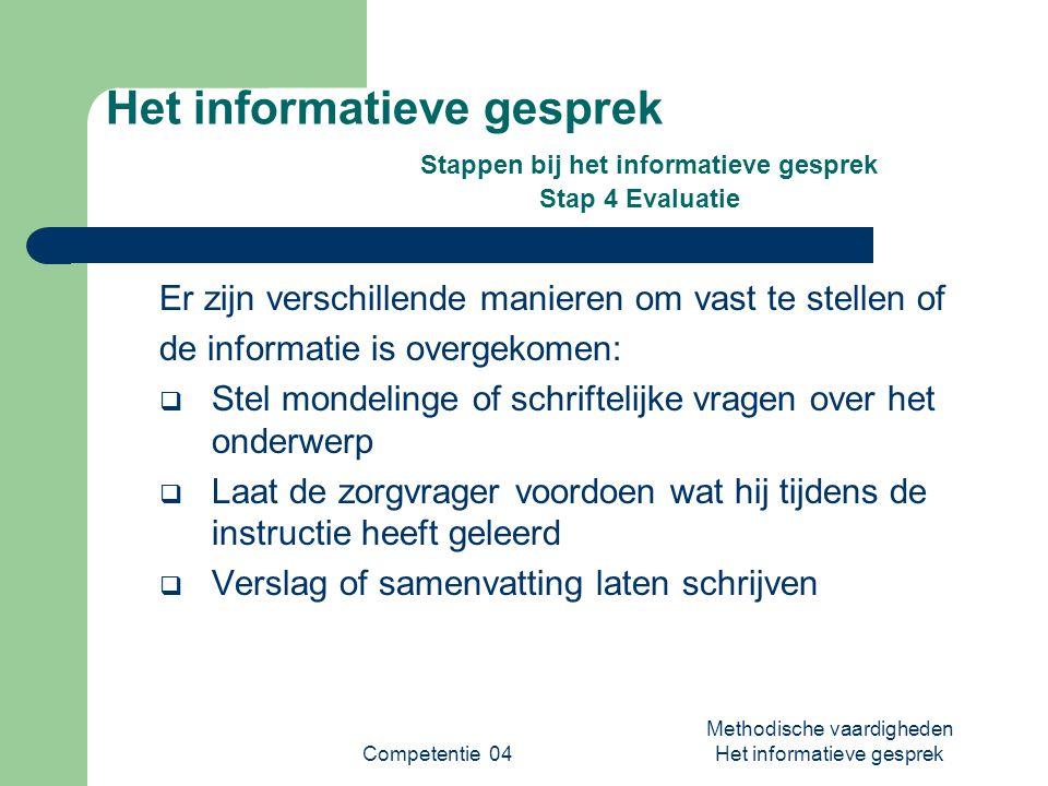 Competentie 04 Methodische vaardigheden Het informatieve gesprek Het informatieve gesprek Stappen bij het informatieve gesprek Stap 4 Evaluatie Er zij