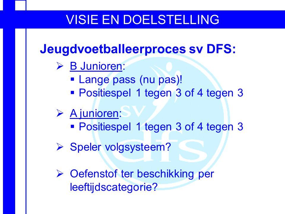 VISIE EN DOELSTELLING Jeugdvoetballeerproces sv DFS:  B Junioren:  Lange pass (nu pas).