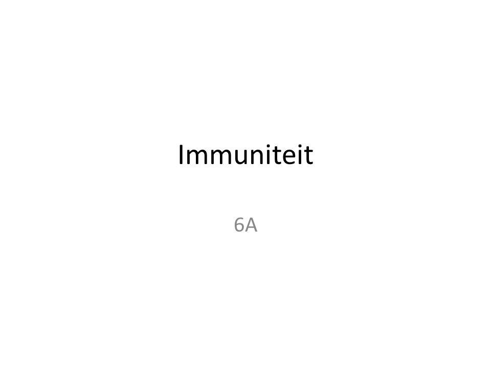 Introductie • Hoofdverdeling: – Aangeboren (niet-specifiek) en verworven (specifiek) • Verdeling aangeboren immuniteit: – Eerstelijns en tweedelijns afweer • Verdeling verworven immuniteit: – Humoraal (bloed) en cellulair (ook wel derdelijns afweer) • Noot: Alle witte bloedcellen samen worden leukocyten genoemd.
