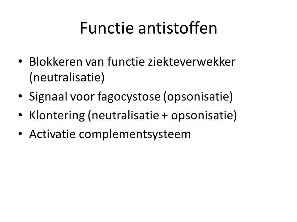 Functie antistoffen • Blokkeren van functie ziekteverwekker (neutralisatie) • Signaal voor fagocystose (opsonisatie) • Klontering (neutralisatie + ops