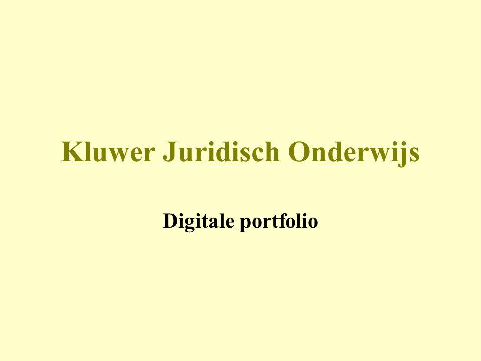 Kluwer Juridisch Onderwijs Digitale portfolio