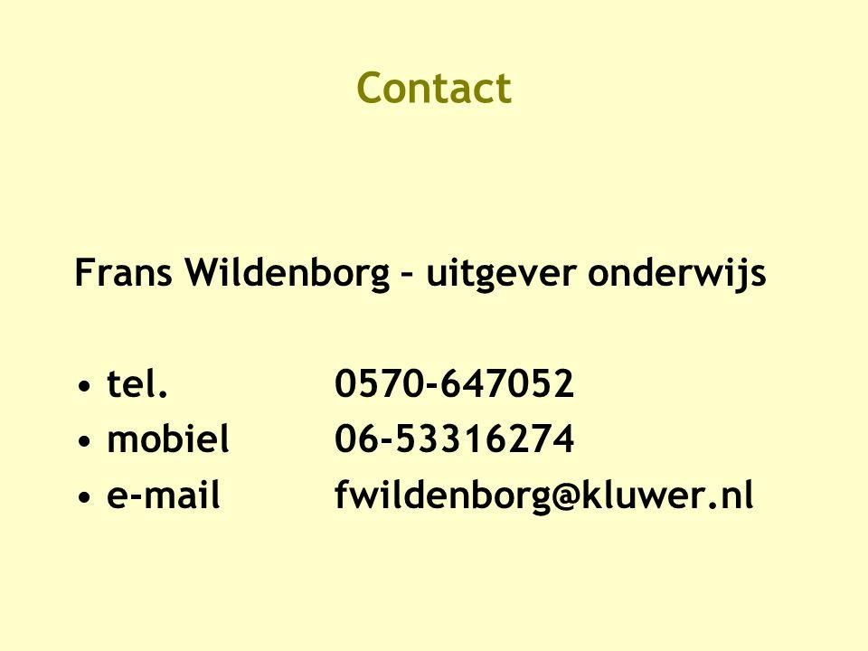 Contact Frans Wildenborg – uitgever onderwijs •tel.