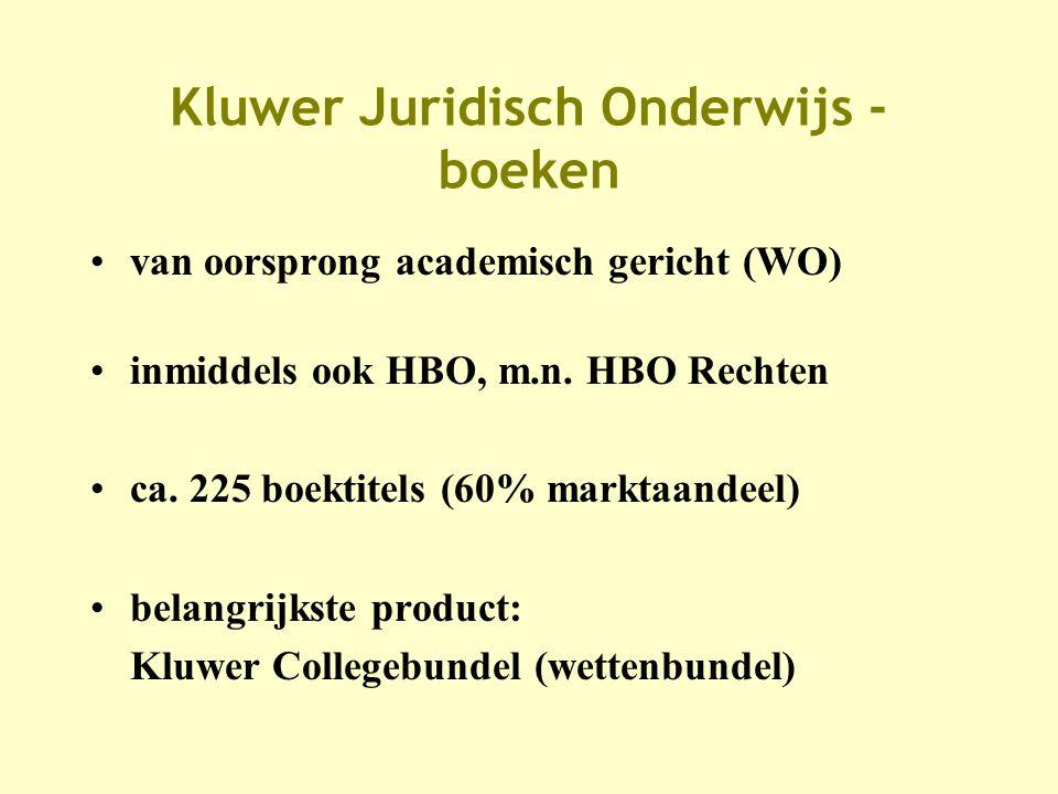 Kluwer Juridisch Onderwijs - boeken •van oorsprong academisch gericht (WO) •inmiddels ook HBO, m.n.