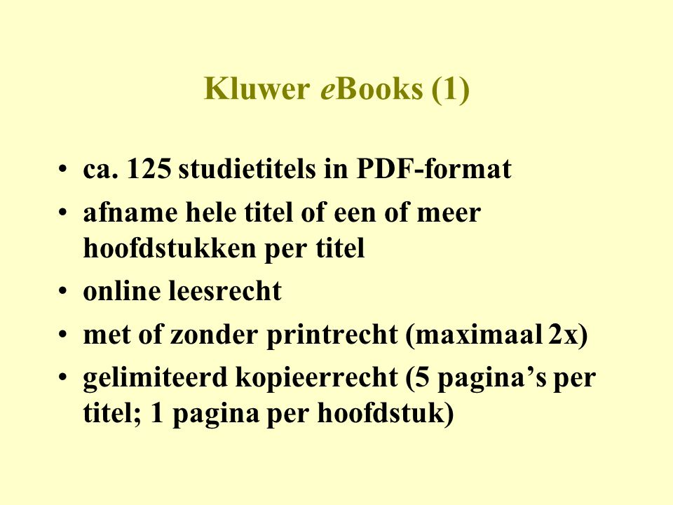 Kluwer eBooks (1) •ca.