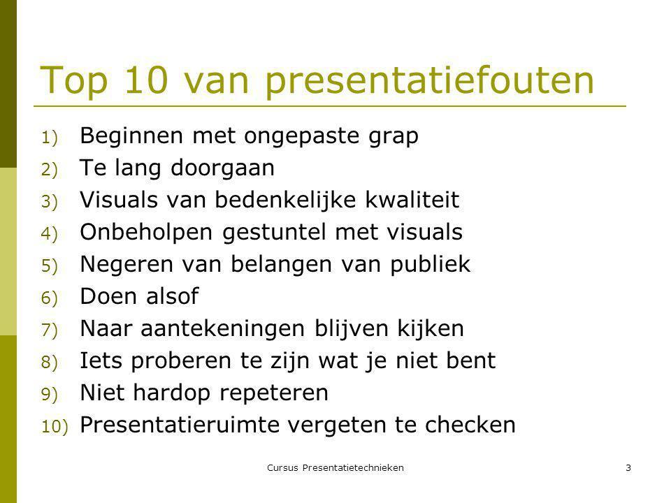 Cursus Presentatietechnieken14 Stap 8: maak handouts  Handouts bieden drie belangrijke voordelen:  Versterking van belangrijke informatie  Samenvatting van acties  Om beeldmateriaal overzichtelijk te houden  Wanneer handouts uitdelen.