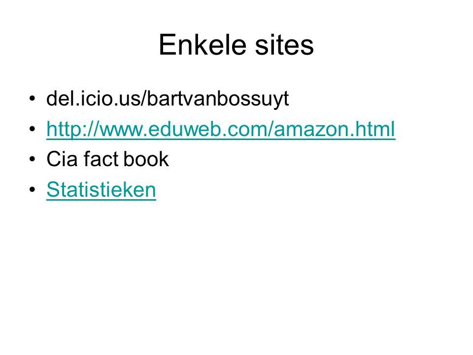 Enkele sites •del.icio.us/bartvanbossuyt •http://www.eduweb.com/amazon.htmlhttp://www.eduweb.com/amazon.html •Cia fact book •StatistiekenStatistieken