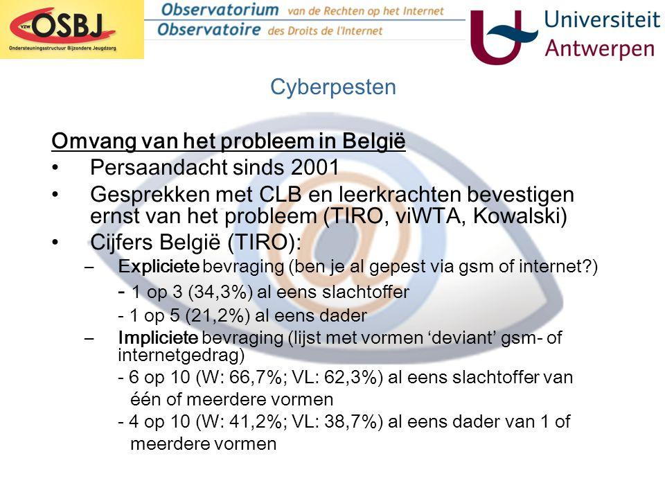 Omvang van het probleem in België •Persaandacht sinds 2001 •Gesprekken met CLB en leerkrachten bevestigen ernst van het probleem (TIRO, viWTA, Kowalsk