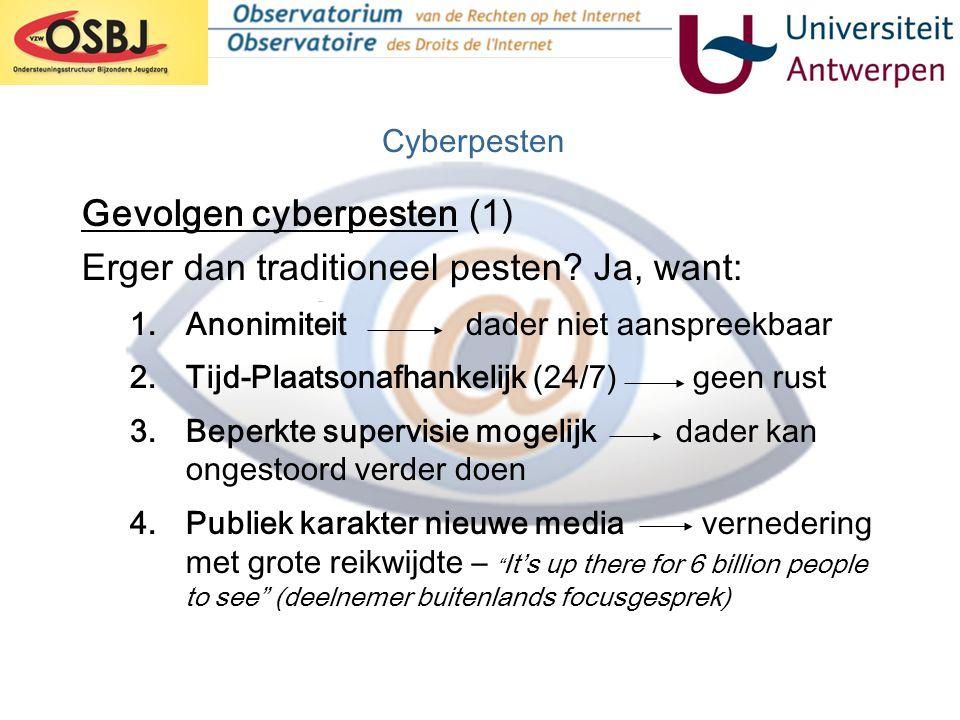 Gevolgen cyberpesten (1) Erger dan traditioneel pesten? Ja, want: 1.Anonimiteit dader niet aanspreekbaar 2.Tijd-Plaatsonafhankelijk (24/7) geen rust 3