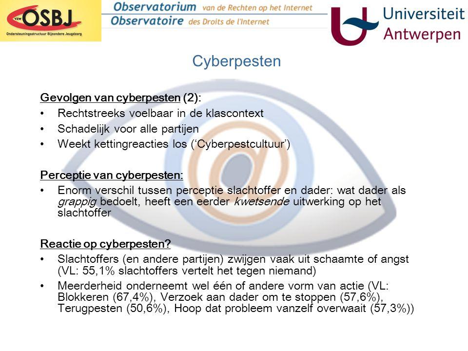 Gevolgen van cyberpesten (2): •Rechtstreeks voelbaar in de klascontext •Schadelijk voor alle partijen •Weekt kettingreacties los ('Cyberpestcultuur')
