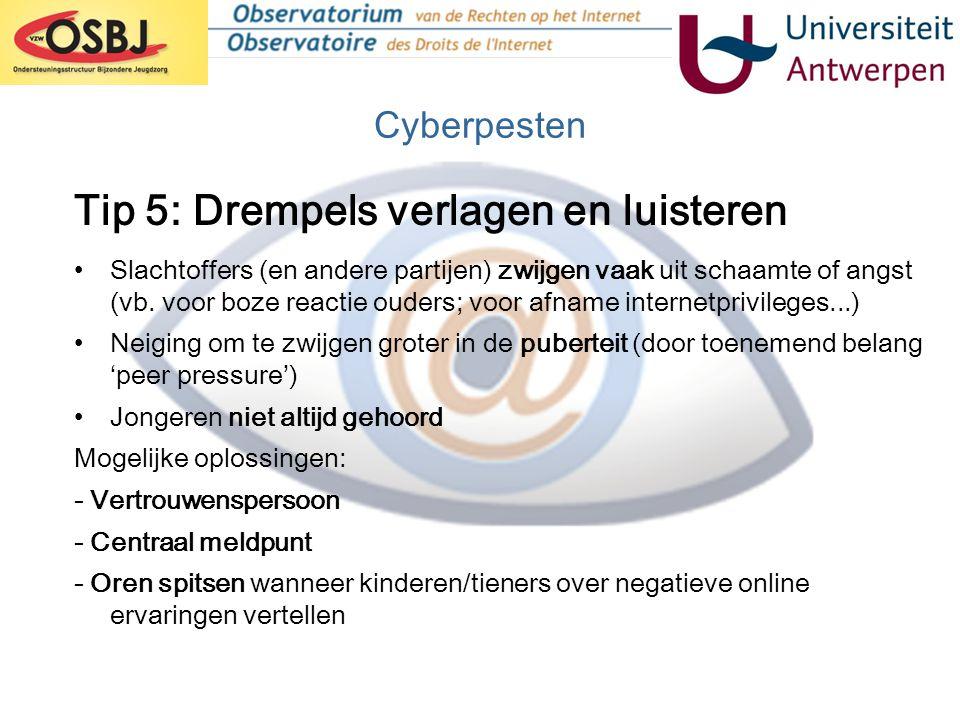 Cyberpesten •Slachtoffers (en andere partijen) zwijgen vaak uit schaamte of angst (vb. voor boze reactie ouders; voor afname internetprivileges...) •N