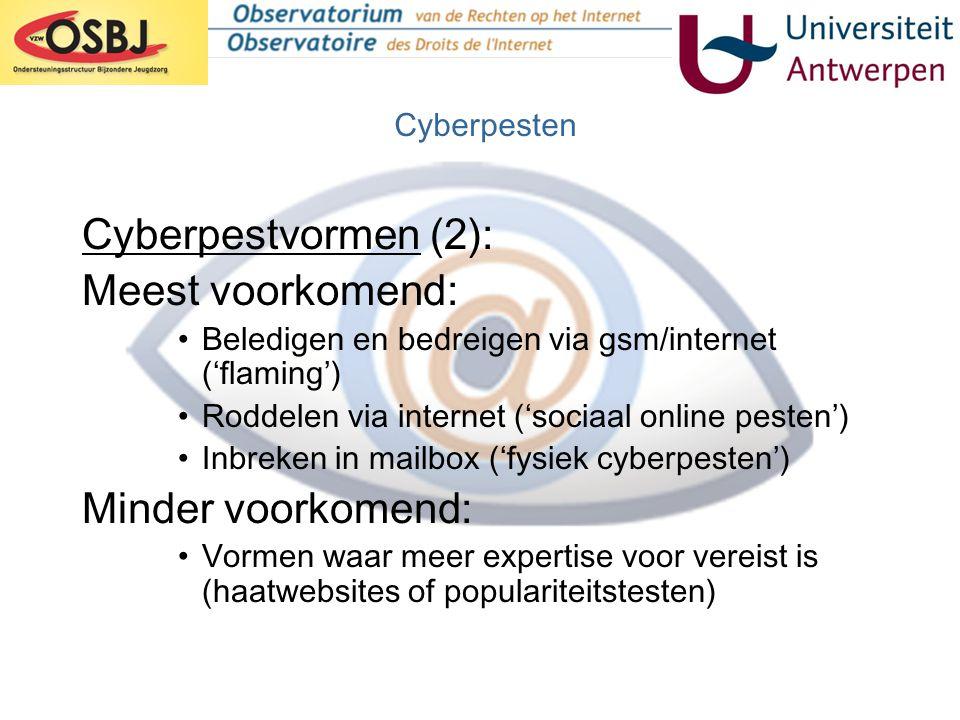 Omvang van het probleem in België •Persaandacht sinds 2001 •Gesprekken met CLB en leerkrachten bevestigen ernst van het probleem (TIRO, viWTA, Kowalski) •Cijfers België (TIRO): –Expliciete bevraging (ben je al gepest via gsm of internet?) - 1 op 3 (34,3%) al eens slachtoffer - 1 op 5 (21,2%) al eens dader –Impliciete bevraging (lijst met vormen 'deviant' gsm- of internetgedrag) - 6 op 10 (W: 66,7%; VL: 62,3%) al eens slachtoffer van één of meerdere vormen - 4 op 10 (W: 41,2%; VL: 38,7%) al eens dader van 1 of meerdere vormen Cyberpesten