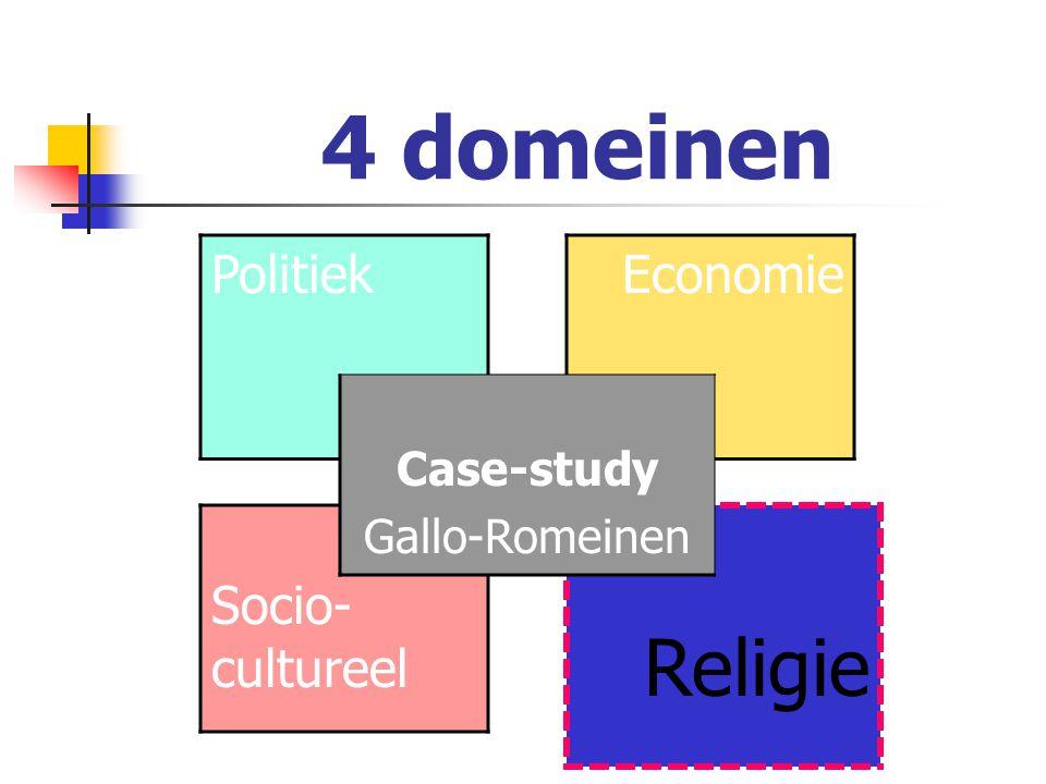 4 domeinen Politiek Economie Socio- cultureel Religie Case-study Gallo-Romeinen