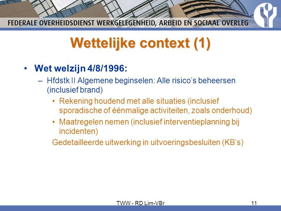 Wettelijke context (1) •Wet welzijn 4/8/1996: –Hfdstk II Algemene beginselen: Alle risico's beheersen (inclusief brand) •Rekening houdend met alle sit