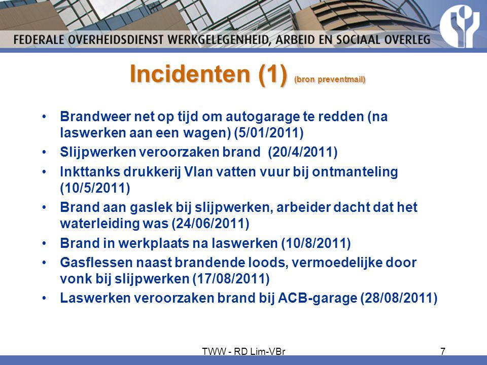 Incidenten (1) (bron preventmail) •Brandweer net op tijd om autogarage te redden (na laswerken aan een wagen) (5/01/2011) •Slijpwerken veroorzaken bra