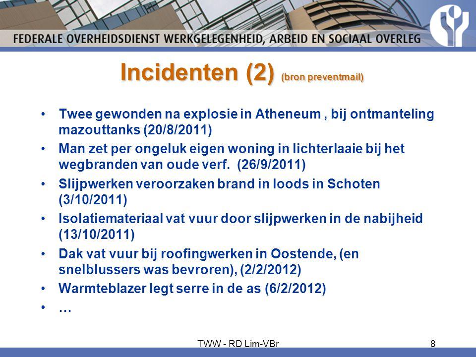 Incidenten (2) (bron preventmail) •Twee gewonden na explosie in Atheneum, bij ontmanteling mazouttanks (20/8/2011) •Man zet per ongeluk eigen woning i