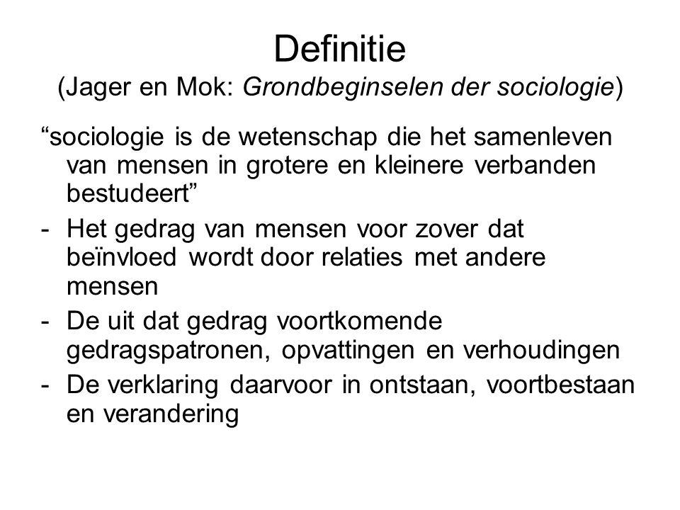 """Definitie (Jager en Mok: Grondbeginselen der sociologie) """"sociologie is de wetenschap die het samenleven van mensen in grotere en kleinere verbanden b"""