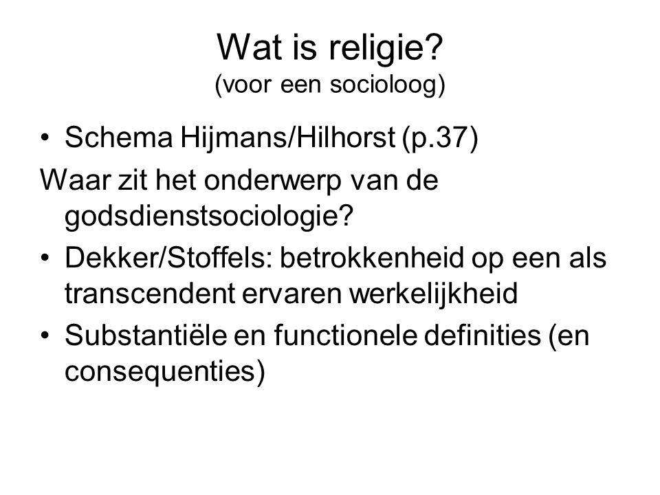 Wat is religie? (voor een socioloog) •Schema Hijmans/Hilhorst (p.37) Waar zit het onderwerp van de godsdienstsociologie? •Dekker/Stoffels: betrokkenhe