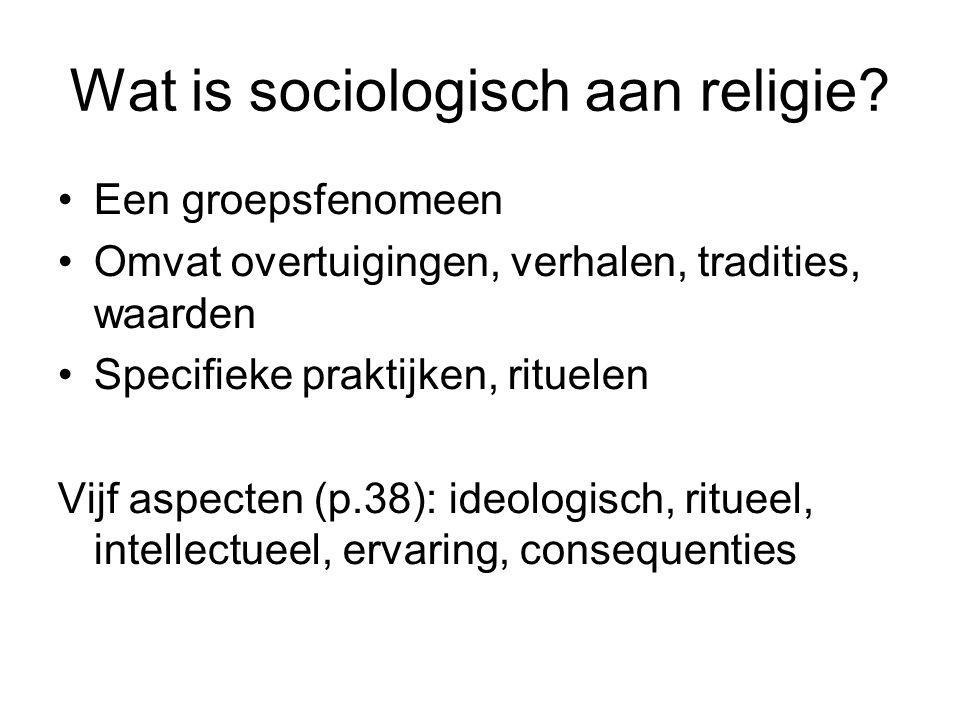 Wat is sociologisch aan religie? •Een groepsfenomeen •Omvat overtuigingen, verhalen, tradities, waarden •Specifieke praktijken, rituelen Vijf aspecten