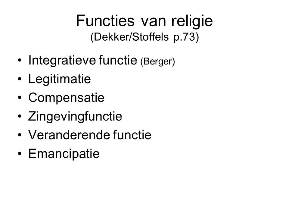 Functies van religie (Dekker/Stoffels p.73) •Integratieve functie (Berger) •Legitimatie •Compensatie •Zingevingfunctie •Veranderende functie •Emancipa
