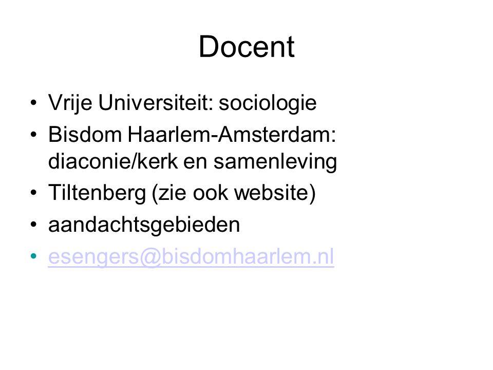 Docent •Vrije Universiteit: sociologie •Bisdom Haarlem-Amsterdam: diaconie/kerk en samenleving •Tiltenberg (zie ook website) •aandachtsgebieden •eseng