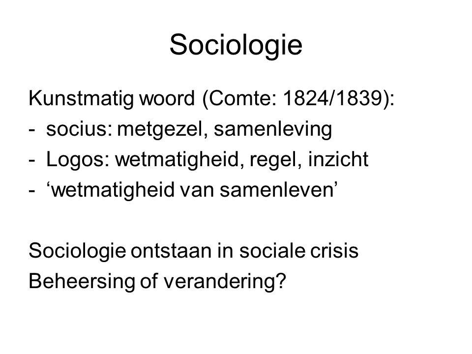 Sociologie Kunstmatig woord (Comte: 1824/1839): -socius: metgezel, samenleving -Logos: wetmatigheid, regel, inzicht -'wetmatigheid van samenleven' Soc
