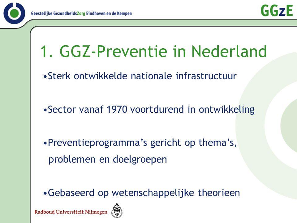 1. GGZ-Preventie in Nederland •Sterk ontwikkelde nationale infrastructuur •Sector vanaf 1970 voortdurend in ontwikkeling •Preventieprogramma's gericht