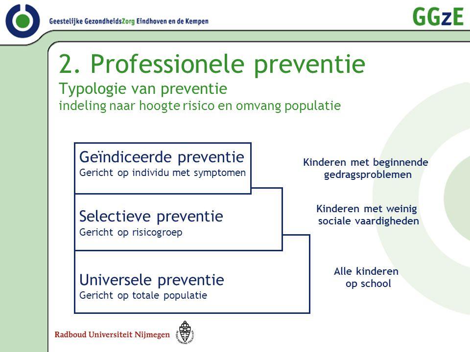 2. Professionele preventie Typologie van preventie indeling naar hoogte risico en omvang populatie Universele preventie Gericht op totale populatie Se