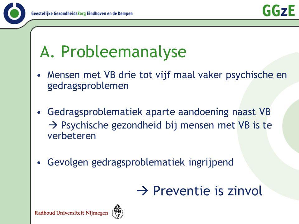 A. Probleemanalyse •Mensen met VB drie tot vijf maal vaker psychische en gedragsproblemen •Gedragsproblematiek aparte aandoening naast VB  Psychische