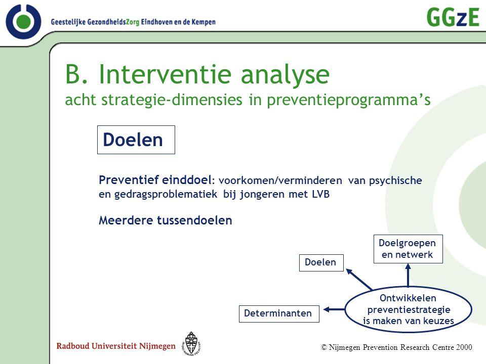 B. Interventie analyse acht strategie-dimensies in preventieprogramma's Ontwikkelen preventiestrategie is maken van keuzes Doelgroepen en netwerk Dete