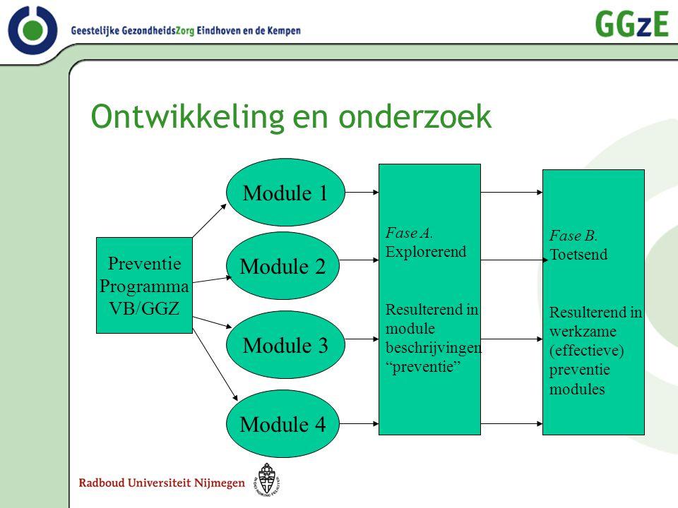 """Ontwikkeling en onderzoek Preventie Programma VB/GGZ Module 1 Module 2 Module 3 Module 4 Fase A. Explorerend Resulterend in module beschrijvingen """"pre"""