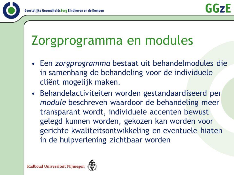 Zorgprogramma en modules •Een zorgprogramma bestaat uit behandelmodules die in samenhang de behandeling voor de individuele cliënt mogelijk maken. •Be