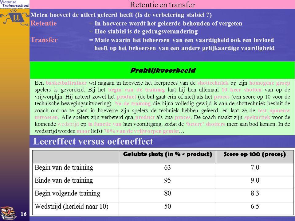 16 Retentie en transfer Meten hoeveel de atleet geleerd heeft (Is de verbetering stabiel ?) Retentie = In hoeverre wordt het geleerde behouden of verg