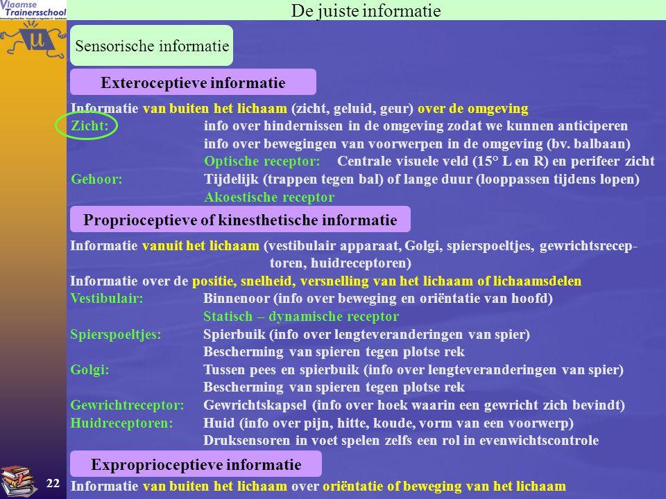 22 De juiste informatie Sensorische informatie Informatie vanuit het lichaam (vestibulair apparaat, Golgi, spierspoeltjes, gewrichtsrecep- toren, huid
