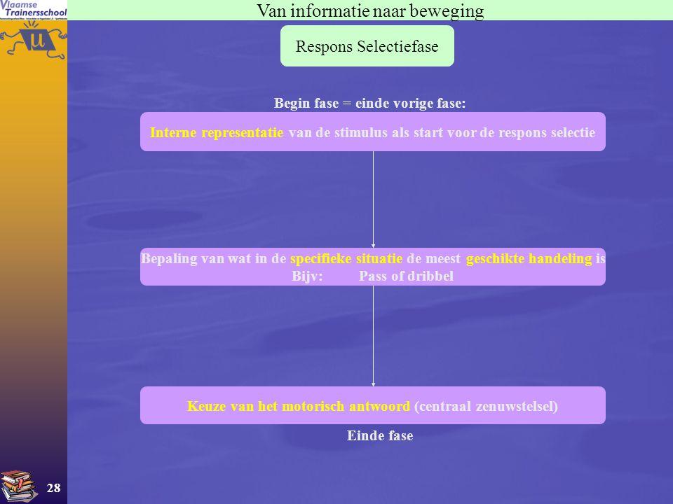 28 Van informatie naar beweging Respons Selectiefase Interne representatie van de stimulus als start voor de respons selectie Begin fase = einde vorig