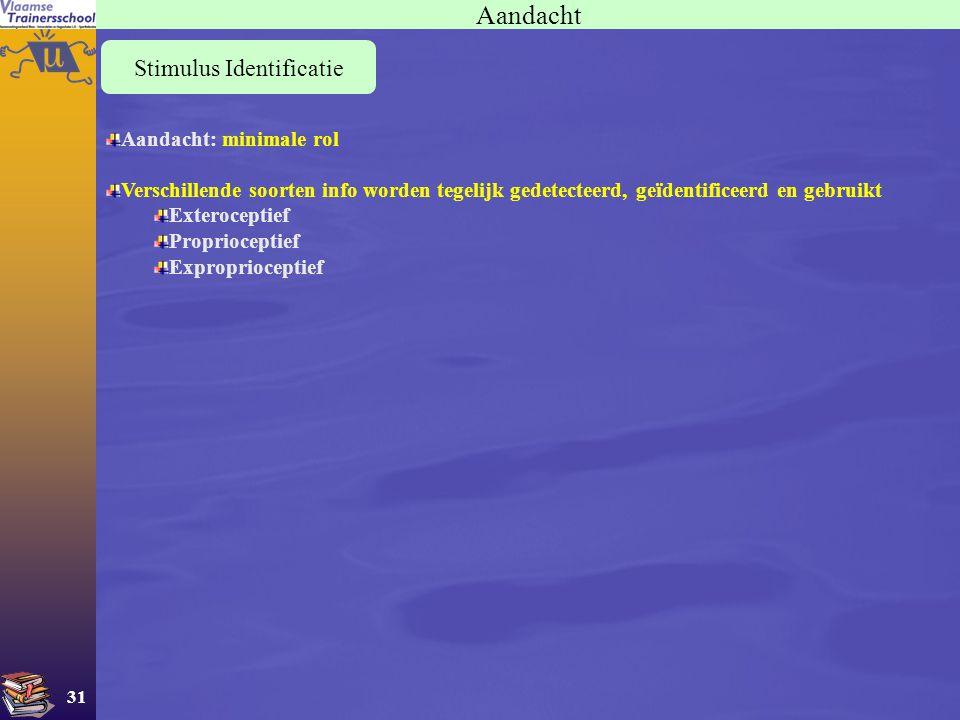 31 Aandacht Stimulus Identificatie Aandacht: minimale rol Verschillende soorten info worden tegelijk gedetecteerd, geïdentificeerd en gebruikt Exteroc