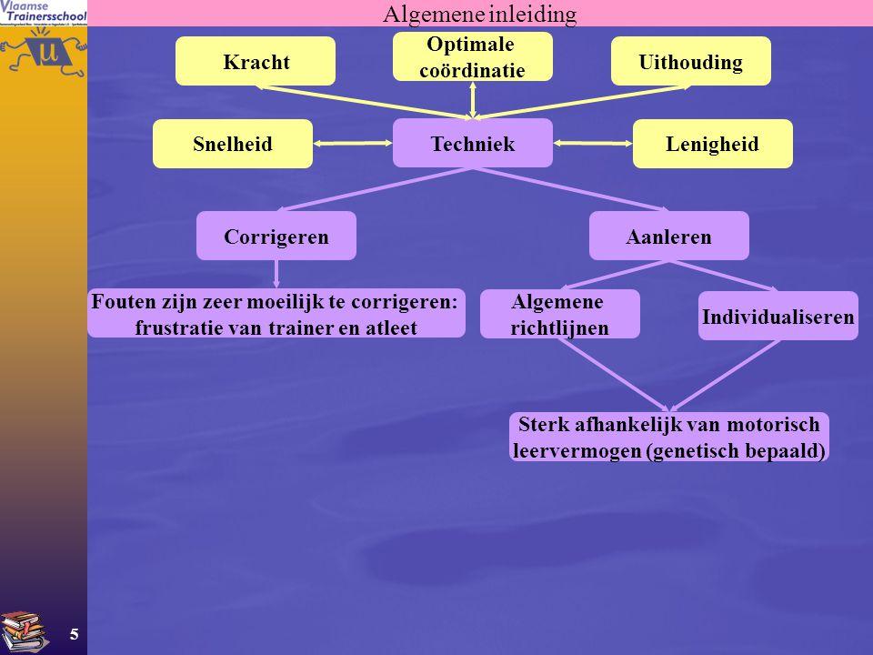6 Algemene inleiding Aandeel van de techniek (verschillend van sporttak tot sporttak) Dit geldt ook voor K, S, L, U Functies van de techniek (verschillend van sporttak tot sporttak) Verhogen van het bewegingsrendement Ondersteunen van het mechanisch doel van de beweging Ondersteuning van de oplossing van een spelprobleem Preventie van blessures Techniek als einddoel van de training Fucntie van de techniek (afhankelijk van het vaardigheidsniveau) Beginnende atleten: Beleving en plezier is belangrijker dan technische vaardigheid Meer gevorderd: Techniek wordt belangrijker om plezier te behouden Zeer gevorderd: Techniek wordt essentieel