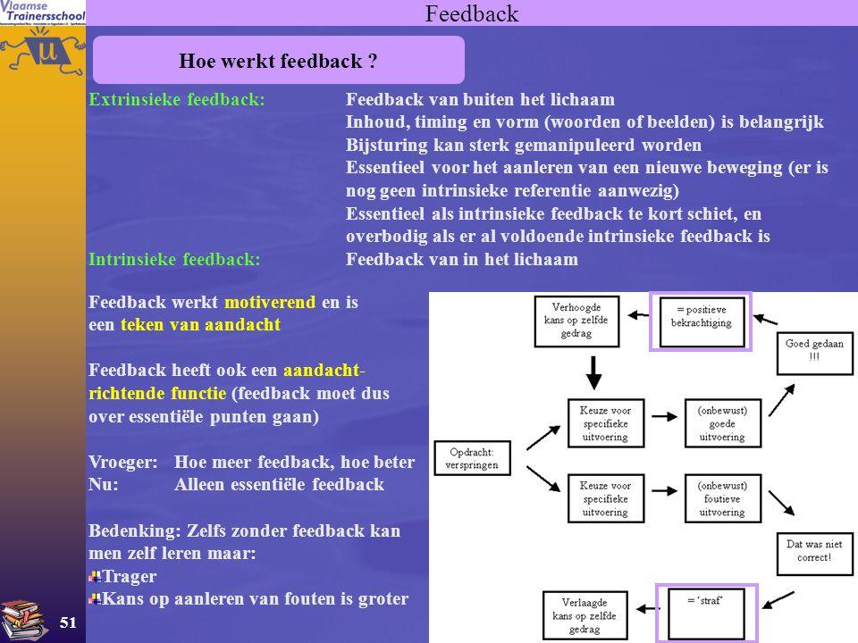 51 Feedback Hoe werkt feedback ? Extrinsieke feedback:Feedback van buiten het lichaam Inhoud, timing en vorm (woorden of beelden) is belangrijk Bijstu