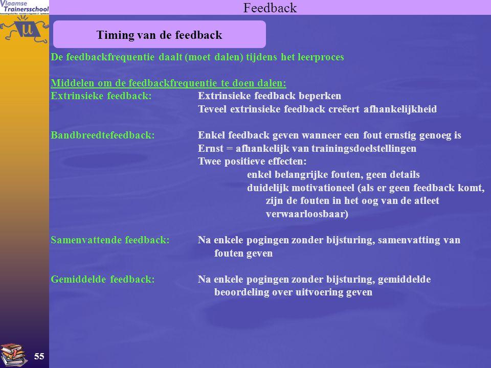 55 Feedback Timing van de feedback De feedbackfrequentie daalt (moet dalen) tijdens het leerproces Middelen om de feedbackfrequentie te doen dalen: Ex