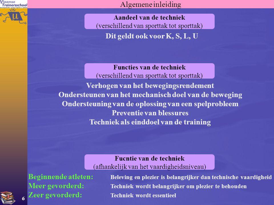 6 Algemene inleiding Aandeel van de techniek (verschillend van sporttak tot sporttak) Dit geldt ook voor K, S, L, U Functies van de techniek (verschil