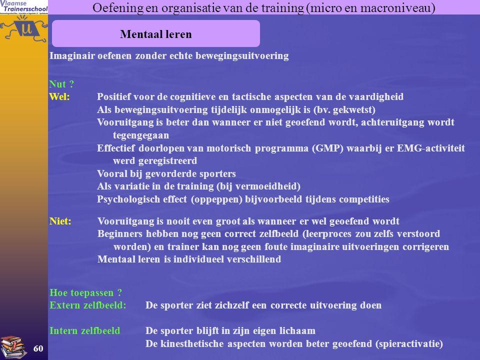 60 Oefening en organisatie van de training (micro en macroniveau) Mentaal leren Imaginair oefenen zonder echte bewegingsuitvoering Hoe toepassen ? Ext