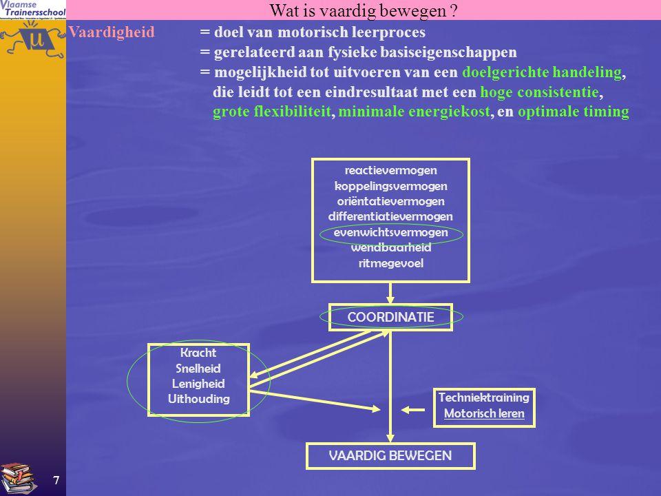 7 Wat is vaardig bewegen ? Vaardigheid = doel van motorisch leerproces = gerelateerd aan fysieke basiseigenschappen = mogelijkheid tot uitvoeren van e
