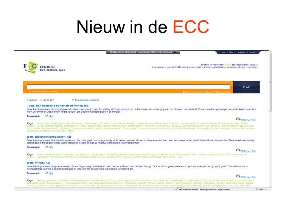 Nieuw in de ECC