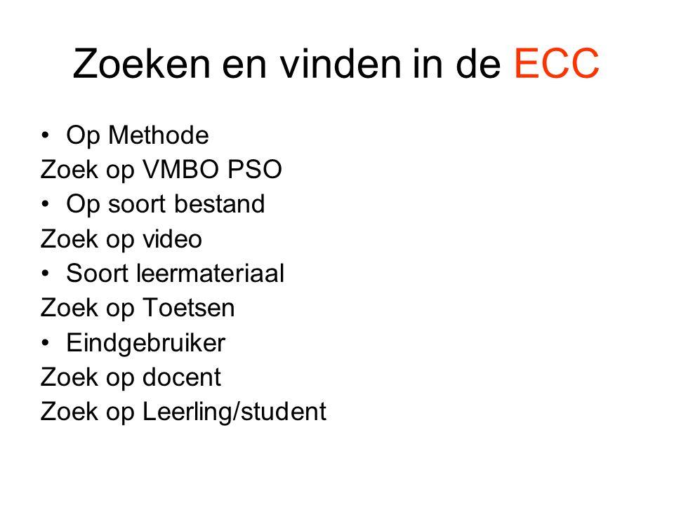 •Op Methode Zoek op VMBO PSO •Op soort bestand Zoek op video •Soort leermateriaal Zoek op Toetsen •Eindgebruiker Zoek op docent Zoek op Leerling/student