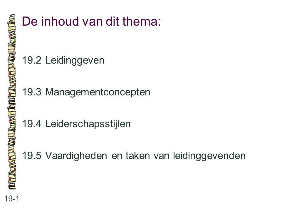 Managementconcepten: 19-2 •Human Resource Management •zelfsturende teams •projectmanagement •de lerende organisatie