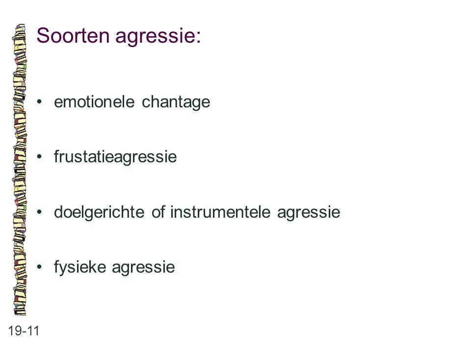 Soorten agressie: 19-11 •emotionele chantage •frustatieagressie •doelgerichte of instrumentele agressie •fysieke agressie