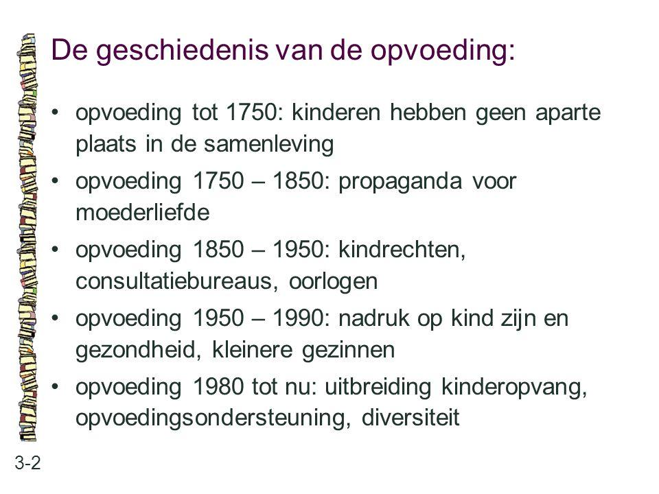Onderzoek en visies: 3-3 •onderzoekers opvoeding en kinderopvang vanaf 1970 •visies op opvoeding