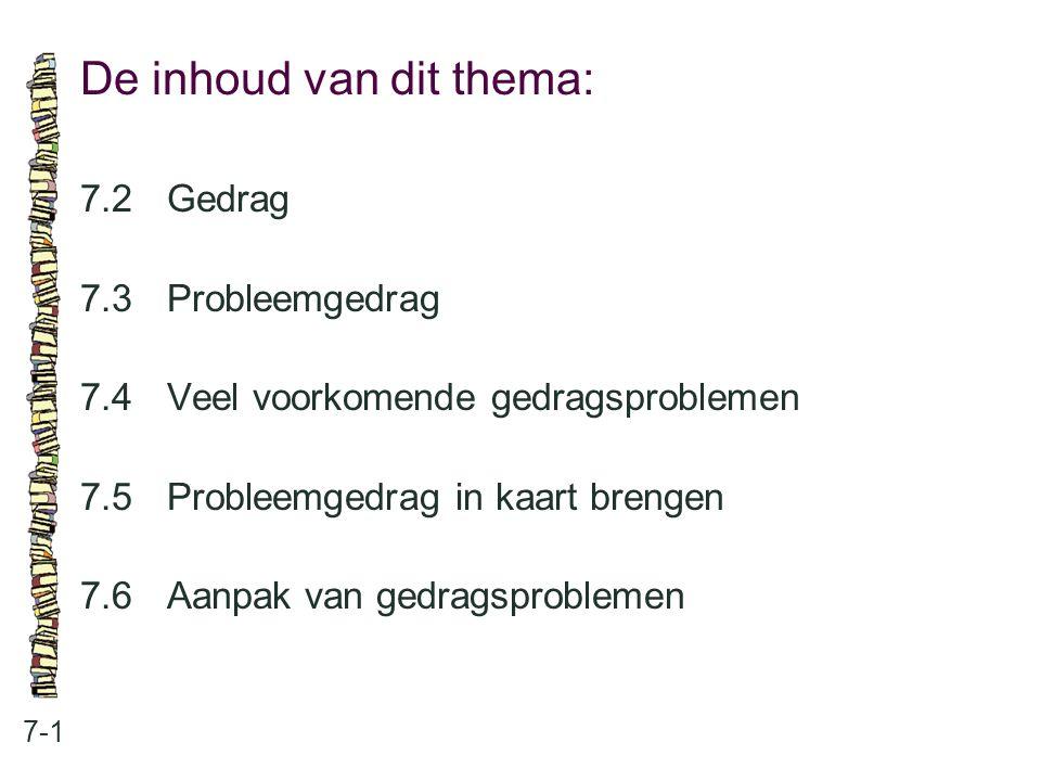 Gedrag: 7-2 •het begrip gedrag •samenhang tussen verschillende aspecten •drie gedragsdeterminanten